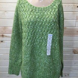 Knit Sweater Swoop Neck Green